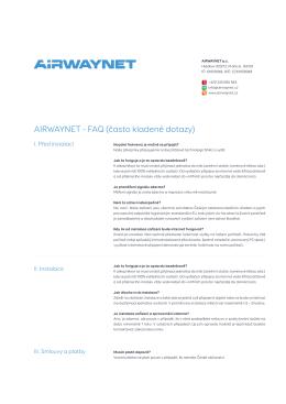 AIRWAYNET - FAQ (často kladené dotazy)