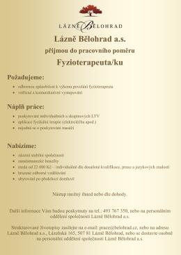 Lázně Bělohrad as Fyzioterapeuta/ku