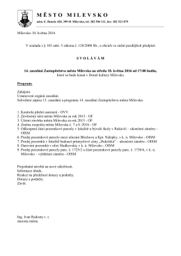 Pozvánka na 14. zasedání Zastupitelstva města Milevska