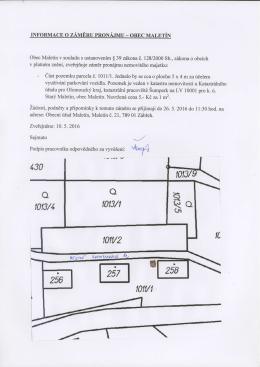 Informace o záměru pronájmu části pozemku p. č 1011/1 k.ú. Starý