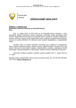 9. - 15. 5. 2016 - Univerzita obrany
