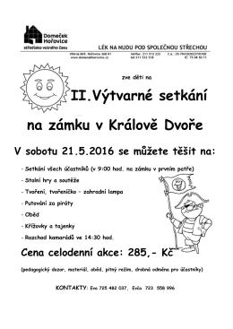 II. Výtvarné setkání na zámku v Králově Dvoře 21.5.2016