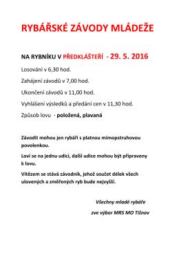 Plakát - RYBÁŘSKÉ ZÁVODY MLÁDEŽE 2016
