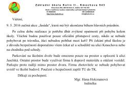 """Vážení, 9. 5. 2016 začíná akce """"fasáda"""", která má být ukončena"""