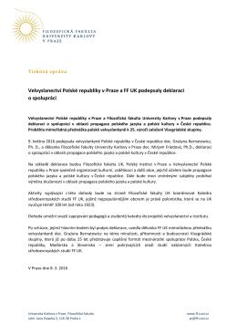 tisková zpráva  - Filozofická fakulta Univerzity Karlovy v Praze