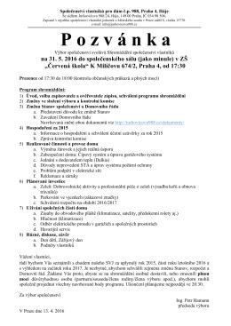 Pozvánka ke stažení - SVJ Jurkovičova 988, Praha 11 – Háje