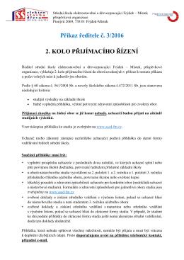Informace ke 2. kolu přijímacího řízení