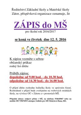 ZÁPIS DO MŠ pro školní rok 2016/2017
