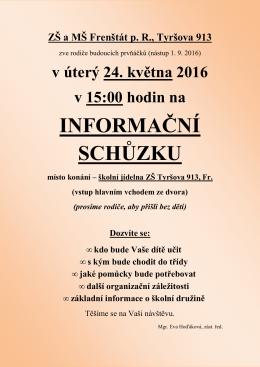 1.roč. infor.schůzka plakát - Základní škola Tyršova 913, Frenštát