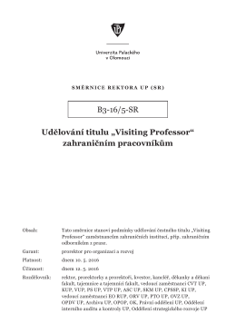 """B3-16/5-SR Udělování titulu """"Visiting Professor"""" zahraničním"""