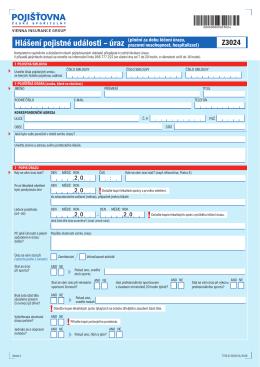 Hlášení pojistné události – úraz (plnění za dobu léčení úrazu,