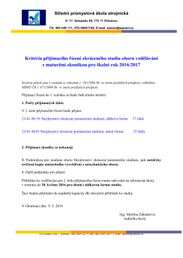 Kritéria přijímacího řízení zkráceného studia oboru vzdělávání s