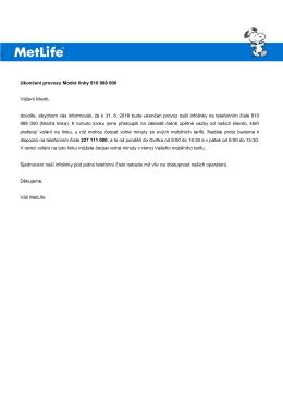 9. 5. 2016 Ukončení provozu tzv. modré linky