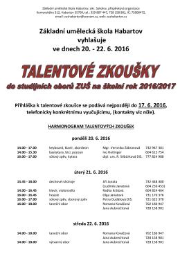 Talentové zkoušky 2016 PDF - Základní umělecká škola Habartov