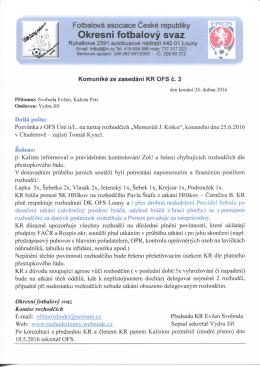 Komuniké ze zasedání KR č. 3 z 24.dubna 2016
