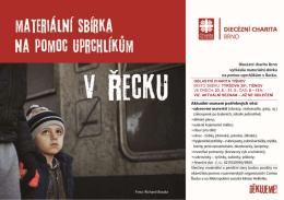 Diecézní charita Brno vyhlásila materiální sbírku na
