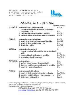 16. 5. – 20. 5. - SOŠ a SOU Milevsko