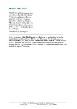 hlášení 9.5.2016 - Obec Bílovice nad Svitavou