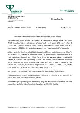 Zahájení správního řízení SR/0800/SC/2016 výjimky