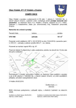 Záměr prodeje pozemku p.č. 5701/488