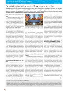 Exportéři vyžadují komplexní financování a služby