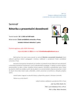Seminář Rétorika a prezentační dovednosti