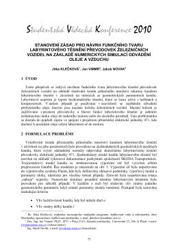 stanovení zásad pro návrh funkčního tvaru labyrintového těsnění
