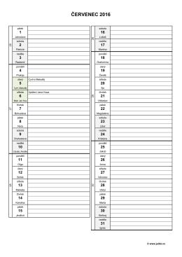 měsíční plánovací kalendář 2016 – červenec – (dokument