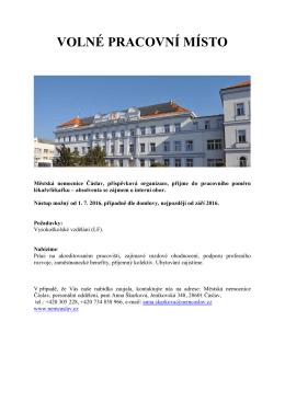 Městská nemocnice Čáslav, příspěvková organizace, přijme do