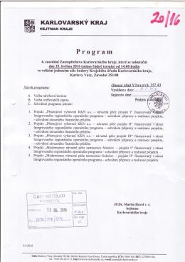 Program 4. zasedání zastupitelstva Karlovarského kraje