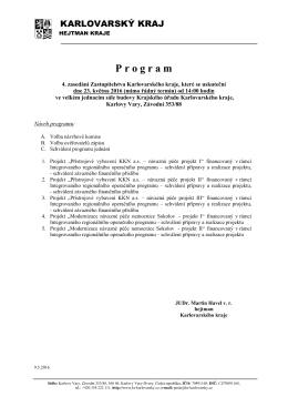 Program jednání ZO KÚ Karl.kraje dne 23.5.2016