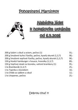 Nabídka jídel k hokejovým utkáním od 6.5.2016