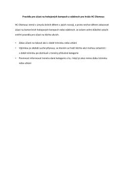 Pravidla pro účast na hokejových kempech a