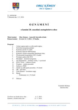 OZN Á MEN Í o konání 20. zasedání zastupitelstva obce