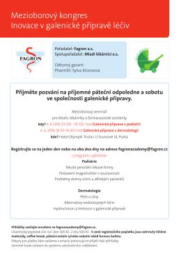 Mezioborový kongres Inovace v galenické přípravě léčiv