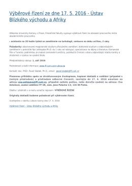 Výběrové řízení ze dne 17. 5. 2016