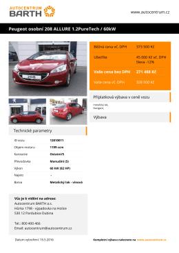 Peugeot osobní 208 ALLURE 1.2PureTech / 60kW