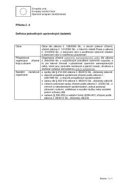 Příloha č. 4 Definice jednotlivých oprávněných žadatelů