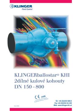 KLINGERballostar® KHI 2dílné kulové kohouty DN 150.–.800