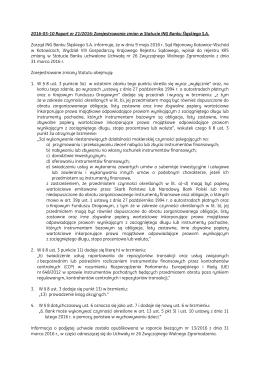 Zarejestrowanie zmian w Statucie ING Banku