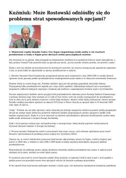 Kuźmiuk: Może Rostowski odniósłby się do problemu strat