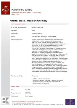 Oferta: praca / Inżynier/Automaty