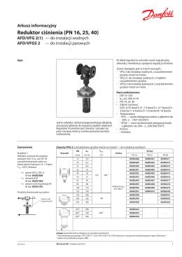 Reduktor ciśnienia AFD/VFG 2, VFGS 2