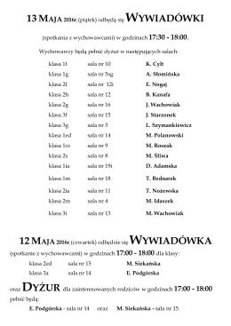 (spotkania z wychowawcami) w godzinach 17:30