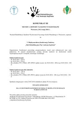 komunikat iii - Akademia Wychowania Fizycznego Józefa