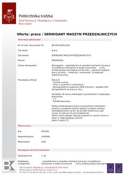 Oferta: praca / SERWISANT MASZYN - Biuro Karier