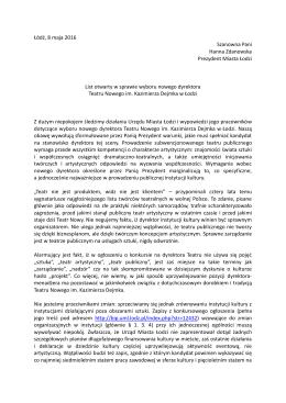 List otwarty w sprawie wyboru dyrektora Teatru