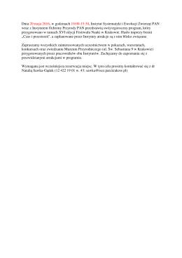 Informacje - Instytut Systematyki i Ewolucji Zwierząt PAN