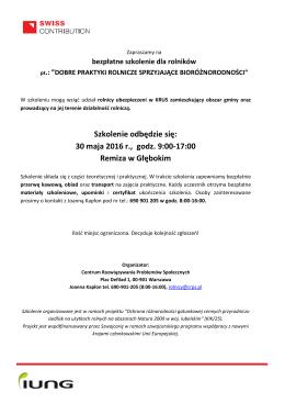 Szkolenie odbędzie się: 30 maja 2016 r., godz. 9:00