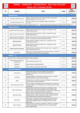Cennik - Centrum Rehabilitacji & SPA w Wilkasach